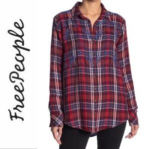 Free People Magical Plaid Button down size XS